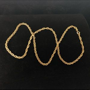 unsigned Jewelry - Gold Tone Rope Chain Bracelet and Necklace Set